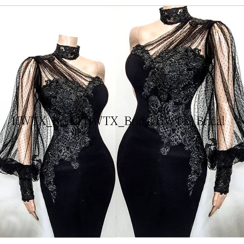 Vintage Lace Evening Dress 2020 New Customized One Shoulder Transparent Long Sleeves Black Mermaid Formal Party Gown With Train