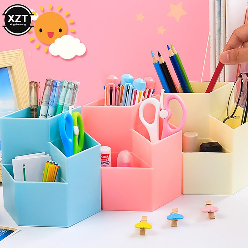 Multi-funktion Desktop Stift Halter Büro Schule Lagerung Fall Bunte Kunststoff Box Kreative Stift Bleistift Organizer Zubehör