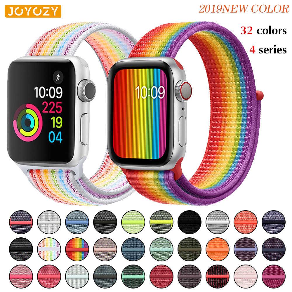 Correa suave de nailon Sport Loop para Apple Watch 4/3/2/1 correas de repuesto transpirables para Apple watch banda de 38mm/40mm/42mm/44mm