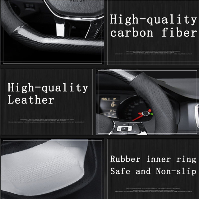 Car Carbon Fiber Steering Wheel Cover 38cm for BMW All Models 1 2 3 4 5 6 7 Series Auto Interior Accessories Car styling 6
