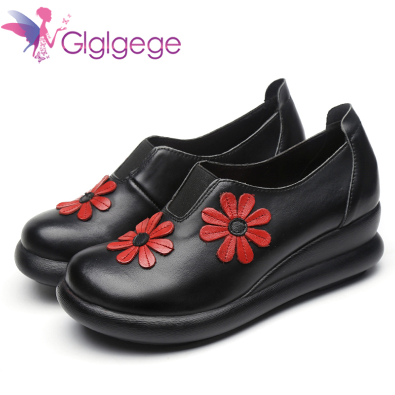 Promo Glglgege Women Thick Soled Platform Shoes Genuine Leather Waterproof Creepers Casual Flower Shoes Woman Flats Black Shoes