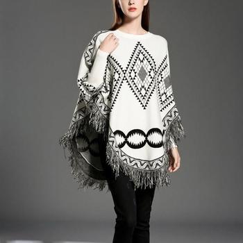 Autumn Sweater Women  Sexy Knit Cloak Ladies Europe America Street Style Shawl Sweater 8