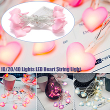 Fashion Heart Shape Satin LED String Light Romantic  Decoration Fairy light Photography Props Party Ornaments USB/Battery D40