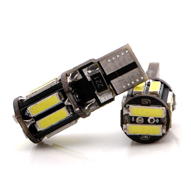 Canbus 4pcs w5w 12V 2W T10 7014 10 SMD Led Bulb Auto Reading Door Parking Tail Indicator Reverse Turn Light White Blue Amber red