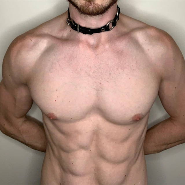 Fetisch Männer Hals Bondage Leder Kragen Gürtel BDSM Halskette 1