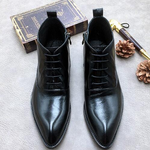 Men New Pointed Toe Lace-up Boots Genuine Leather Fashion High-top  Boots  Flat Martin Boots 2 Colour