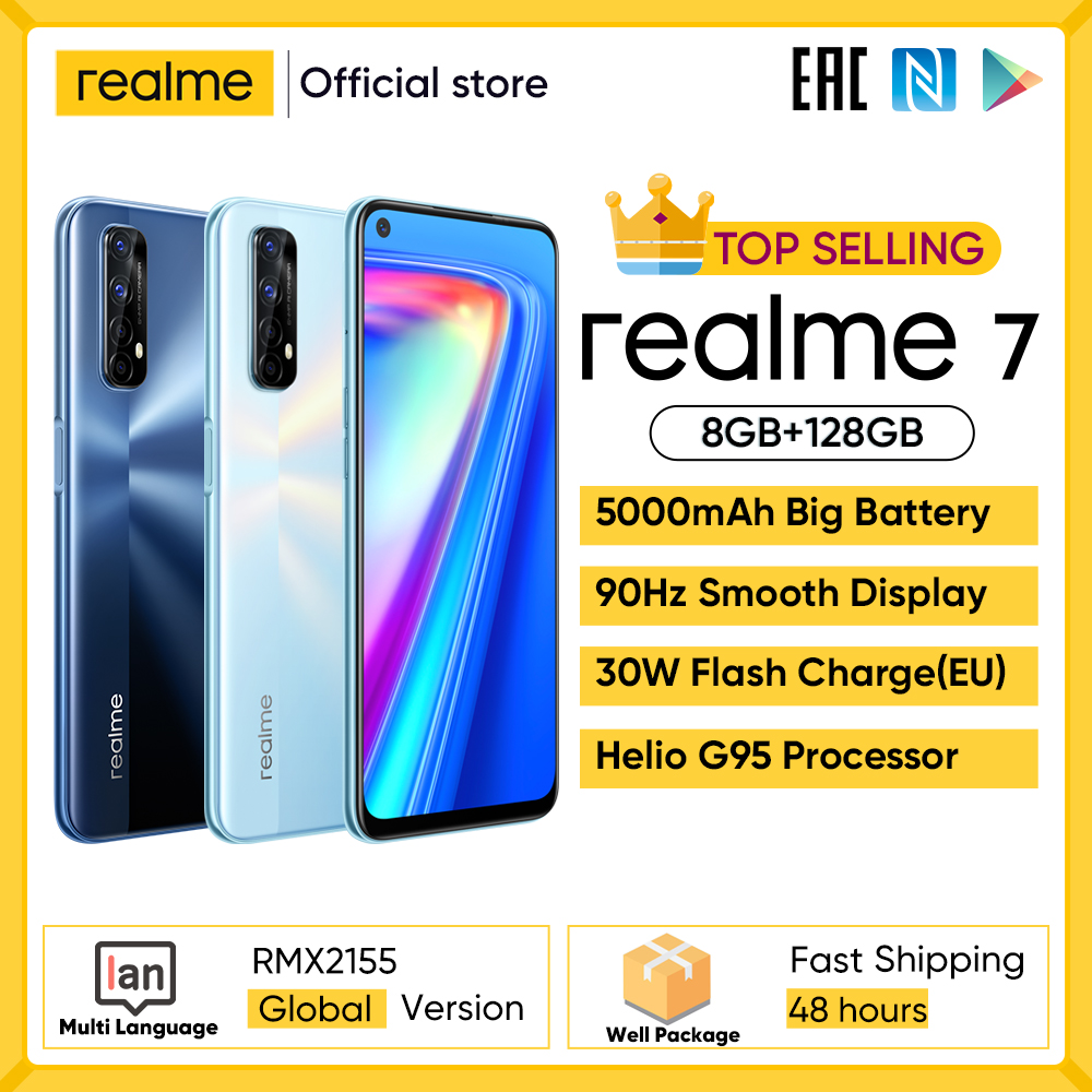 Realme 7 Global Version Cell Phones Unlocked 30W Fast Charge Smartphone 8GB RAM 128GB ROM Mobile Phones Helio G95 Gaming Phone 1