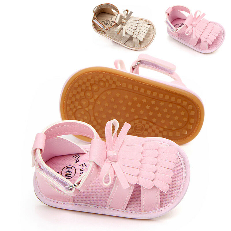 Cute Infant Baby Girls Sandals Fashion Soft Sole PU Leather Tassels Crib Shoes Clogs Toddler Little Baby Prewalker Sandals 0-18M