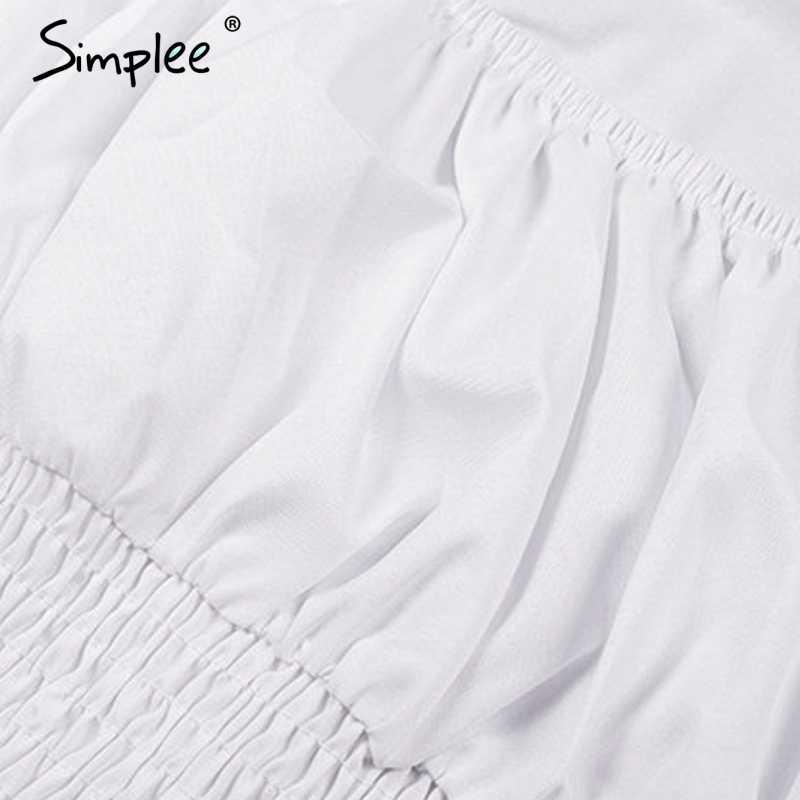 Simplee بلوزة نسائية أنيقة بأكمام طويلة قميص صيفي مكشكش بلوزة بيبلوم للسيدات بلوزات عالية الخصر مثيرة بيضاء بلوزة نسائية 2019