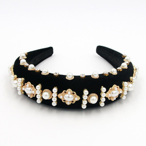 Image 4 - Beautiful Exaggerated Padded Baroque Headband Sprkly Rhinestone Pearl Hairbands Personality Party Show Head Crown Women Headwear