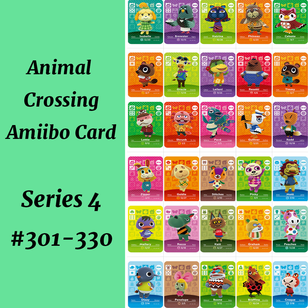 Series 4 (301-330) Animal Crossing Card Work For NS Game Support NFC 3DS Amiibo Card