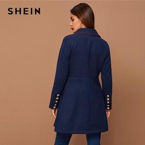 Image 2 - SHEIN siyah yaka yaka altın düğme detay kontrast boru ceket kış uzun kollu zarif dış giyim uzun bezelye Coats
