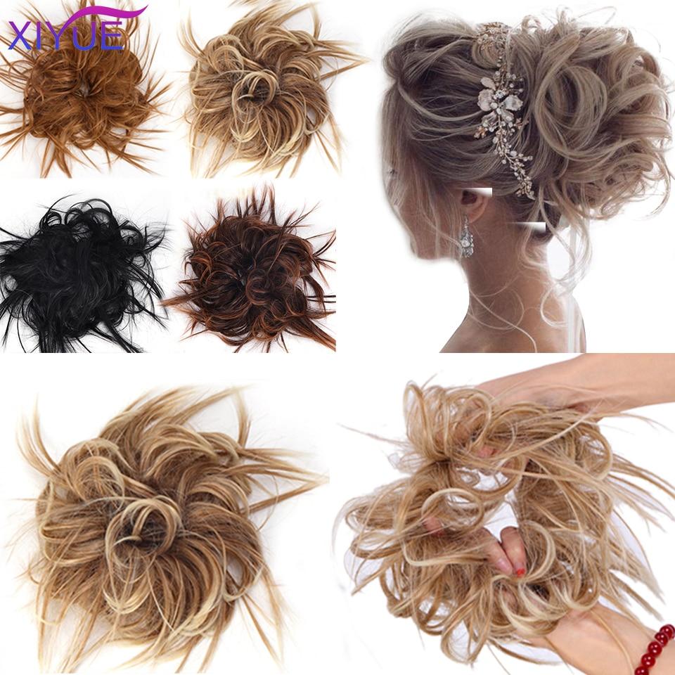 Синтетический шиньон, спутанные резинки, эластичная лента для пучка волос, вьющийся женский шиньон с высокой температурой, искусственная л...