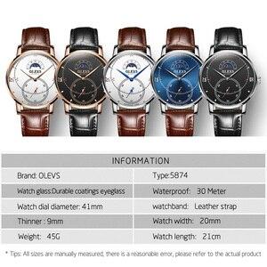 Image 4 - Montre à Quartz pour hommes, montre à Quartz étanche, montre de marque de luxe, sur pied, avec fonction Phase de lune, cadeaux pour hommes