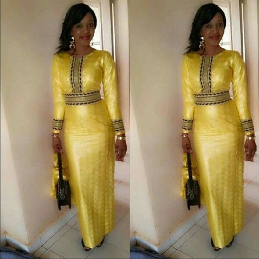 Full Sleeve Golden Dress For African Woman Elegant Fit Splice Vestidos Fashion Africa Style Dashiki Party Dresses For Lady
