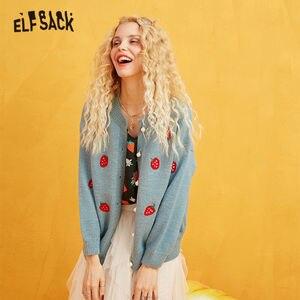 Image 2 - ELFSACK רקמת תות פנינת כפתור מזדמן קרדיגן, נשים 2019 סתיו ארוך שרוול זהב משי מתוק קוריאני סוודר