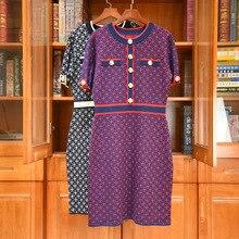 2020 Autumn High quality women knit dress Fashion O-neck elegant dress C107