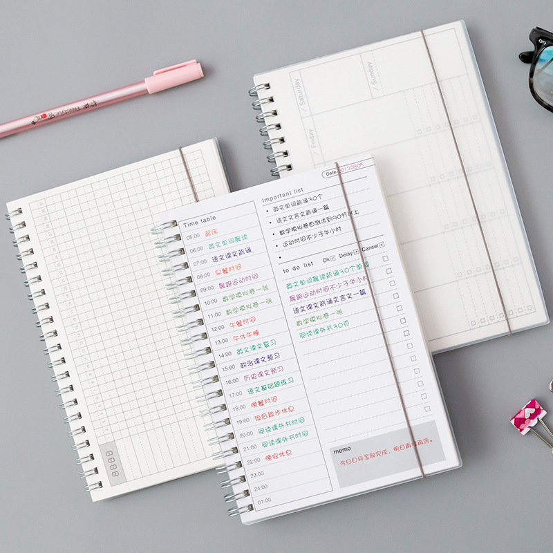 Daily Weekly Monthly <font><b>2020</b></font> <font><b>Planner</b></font> Spiral A5 Notebook Time Memo Planning Organizer Agenda School Office Schedule Stationary image