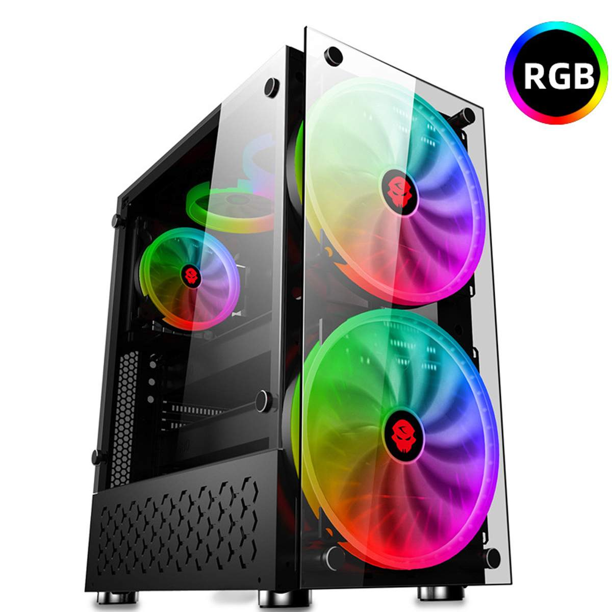 LEORY ATX Gaming Water Cooling PC Case Double Side Tempered Glass Panels RGB Computer Case With 2 Color Changing Fan