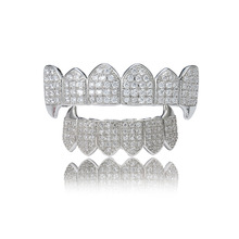 Pure GOLD Color amp SILVER Plated HiP Hop Grillz Micro Pave CZ Gold Fang Top amp Bottom GRILLZ Mouth Teeth Grills Vampire Set cheap Copper Fashion Grillz Dental Grills Body Jewelry Hiphop Rock MS046 geometric Cubic Zirconia