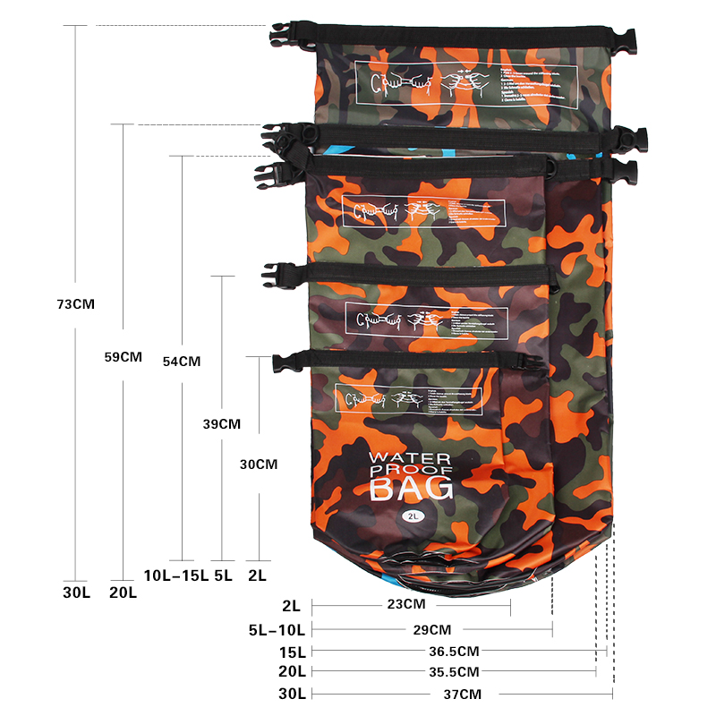 Купить с кэшбэком Outdoor Bag Camouflage Portable Rafting Diving Dry Bag Sack PVC Waterproof Folding Swimming Storage Bag for River Trekking