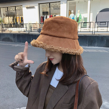 2019 Lamb Wool Winter Bucket Hat for Women Girls Fashion Solid Thick Warm Plush Fisherman Cap Faux Fur Bob Ladies Travel Panama image