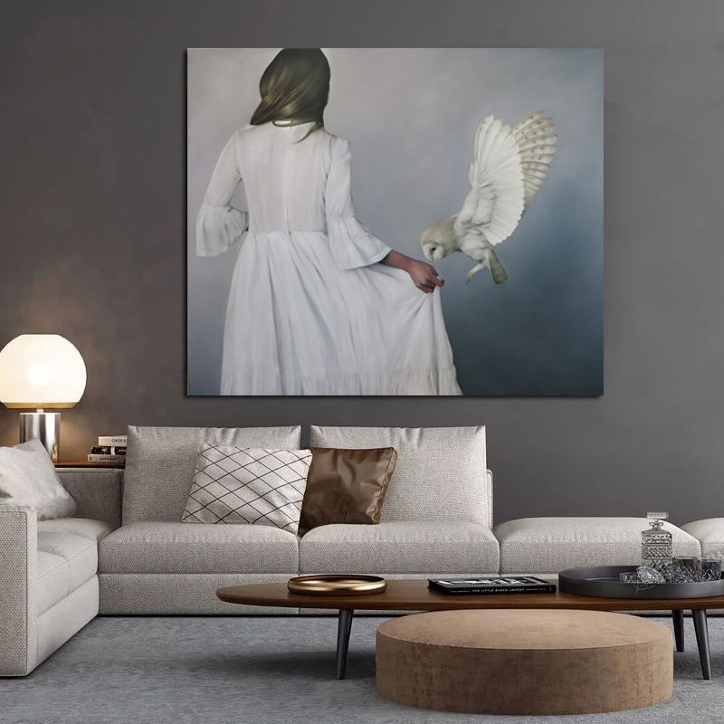 Nordic Abstract Art Woman In White Dress Poster Picture Modern Wall Art Canvas Painting Unique Gift For Home Decoration Artwork