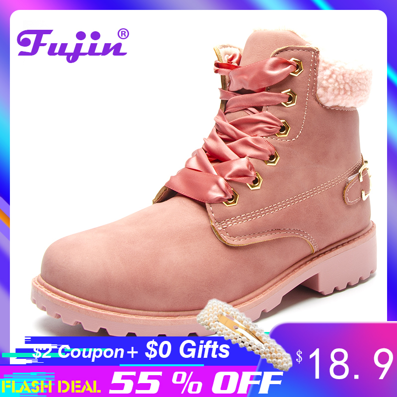Fujin women winter boots Platform Pink Women Boots Lace up Casual Ankle Booties Round Shoes snow
