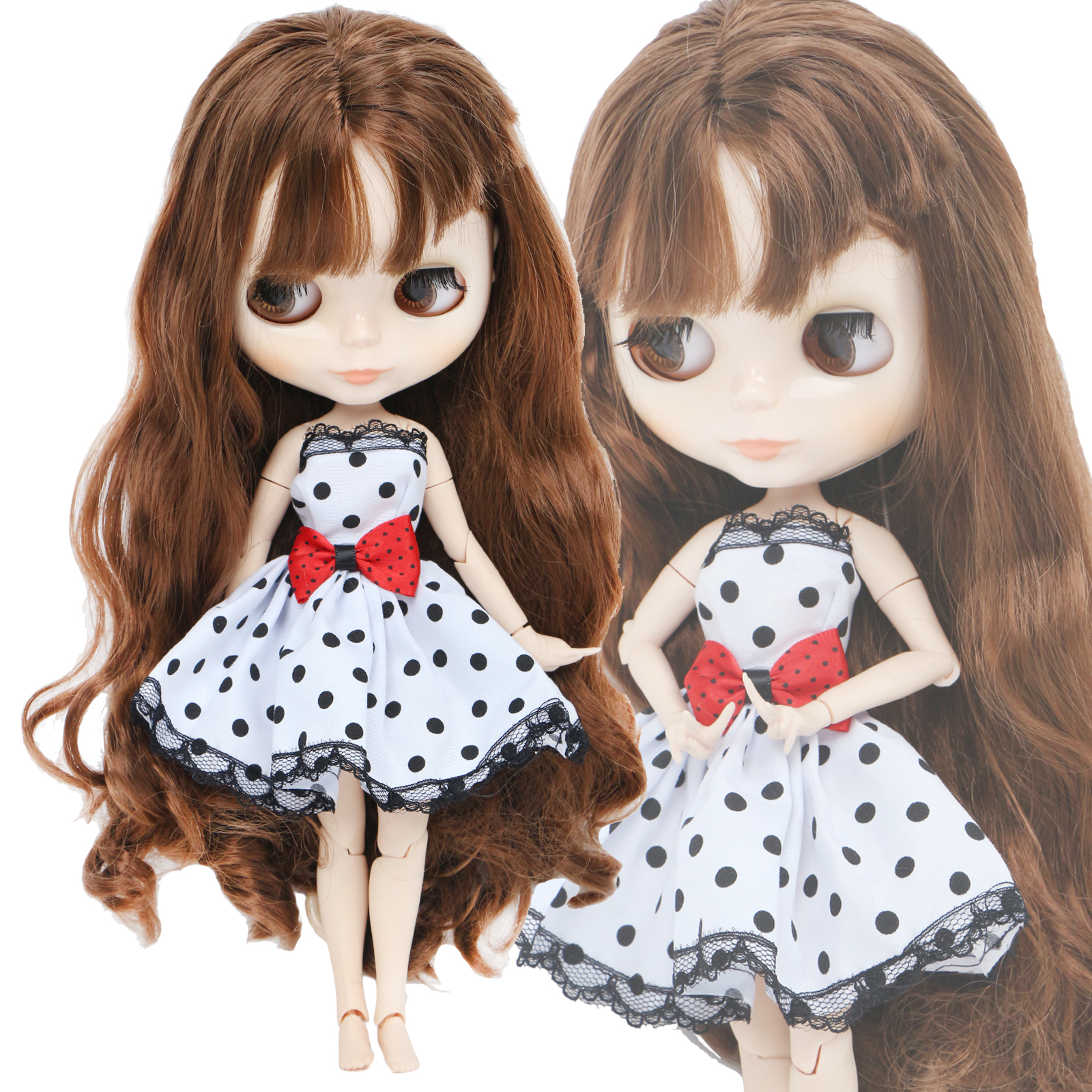 High Quality Dress For Blythe Doll White Black Lace Red Bowknot Wedding Party Wear Short Gown Doll Clothes Accessories Toy