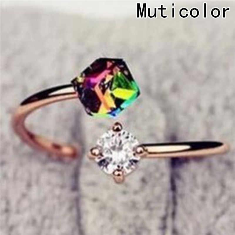 Nueva moda anillos abiertos ajustables Color arcoíris piedras de circonio anillo para mujeres joyería de boda accesorios regalo