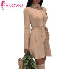 Women Fashion Coat Jacket Medium Long A-line Casual Suede Sl