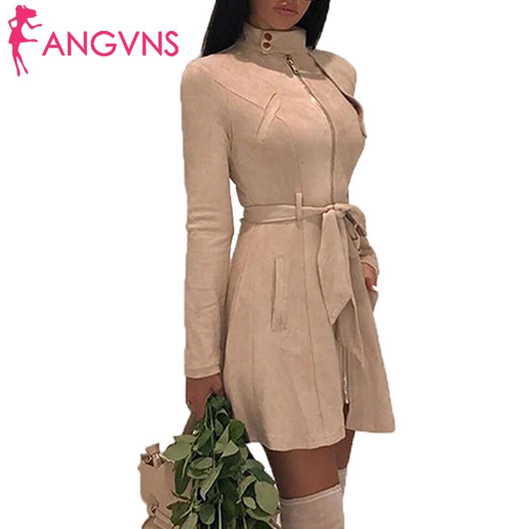 Women Fashion Coat Jacket Medium Long A-line Casual Suede Slim Solid Zipper Windbreaker Zipper, Pockets, Belt