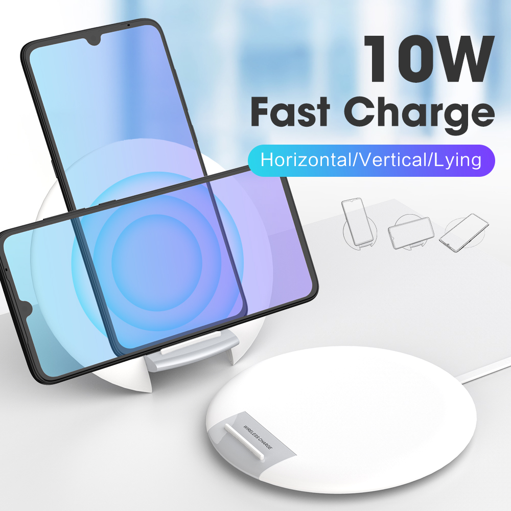 10 Вт настольная подставка Беспроводное зарядное устройство для iphone samsung huawei с кабелем типа c