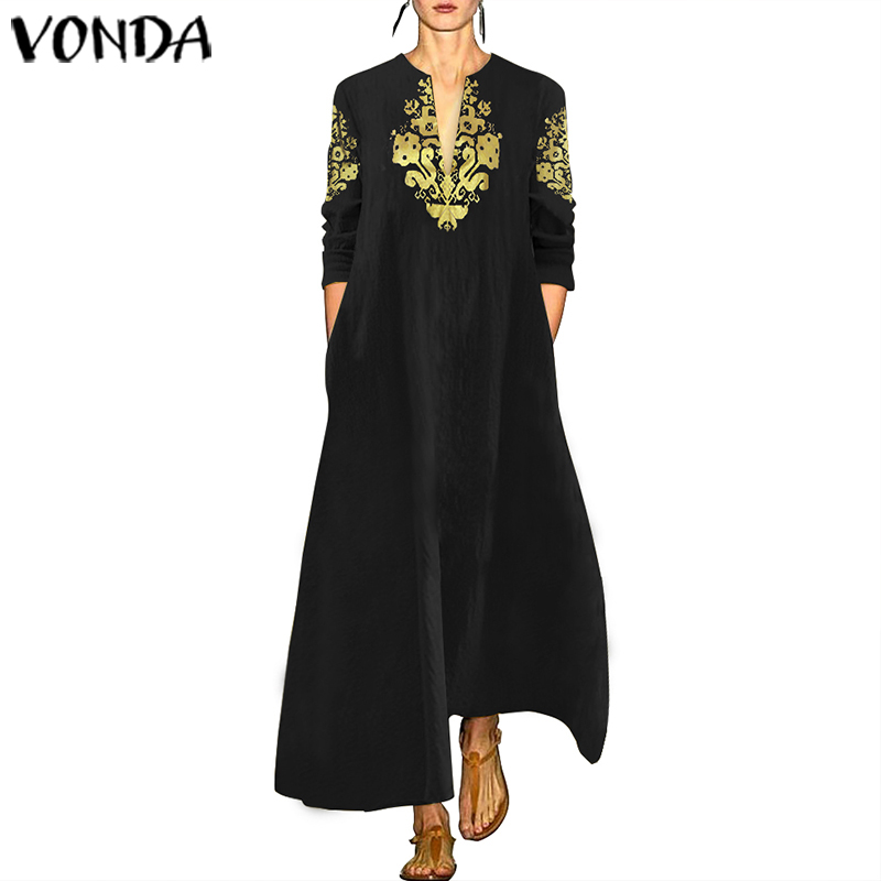 Maxi Long Dress VONDA Womens Vintage Printed Casual Loose Sundress Female Sexy Cotton V Neck Party Vestidos Oversized Robe Femme