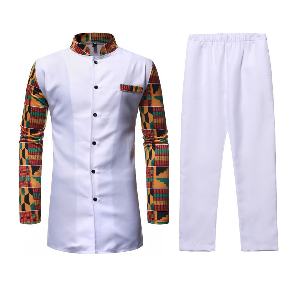 Domple Mens Stand Collar Plus Size African Print Dashiki Casual Mid Length Long Sleeve Shirt