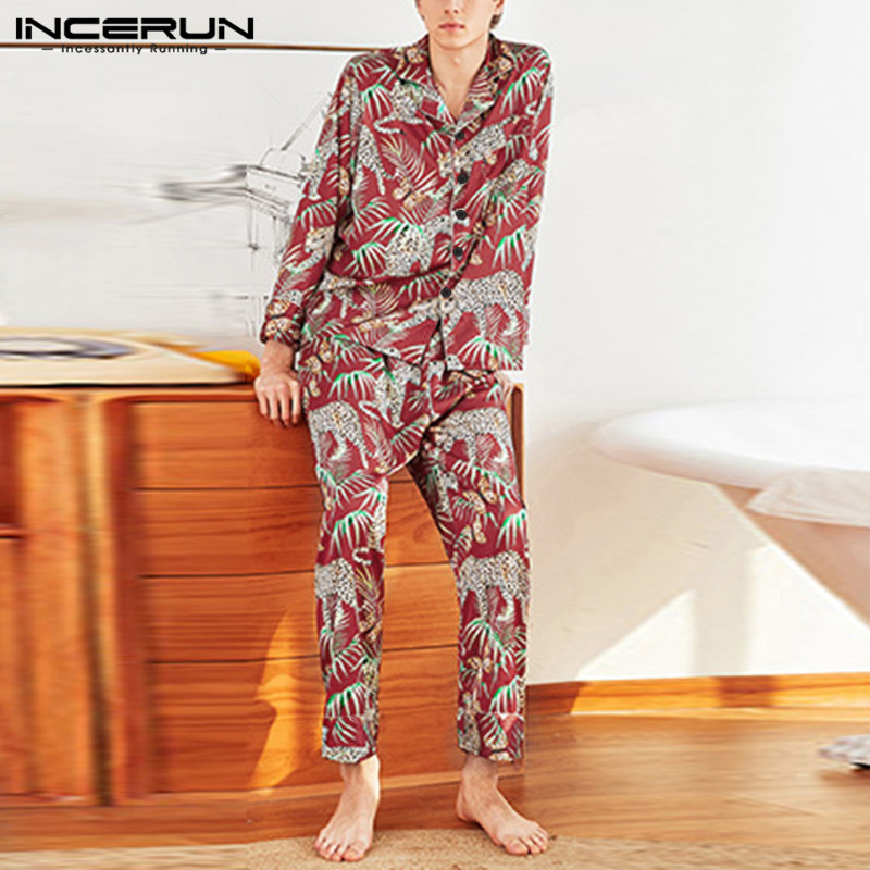 Men Chic Print Long Sleeve Pajama Set Fashion Comfort Home Clothes Couple Baggy Sleepwear Suit Soft Loungewear Outfits INCERUN 7