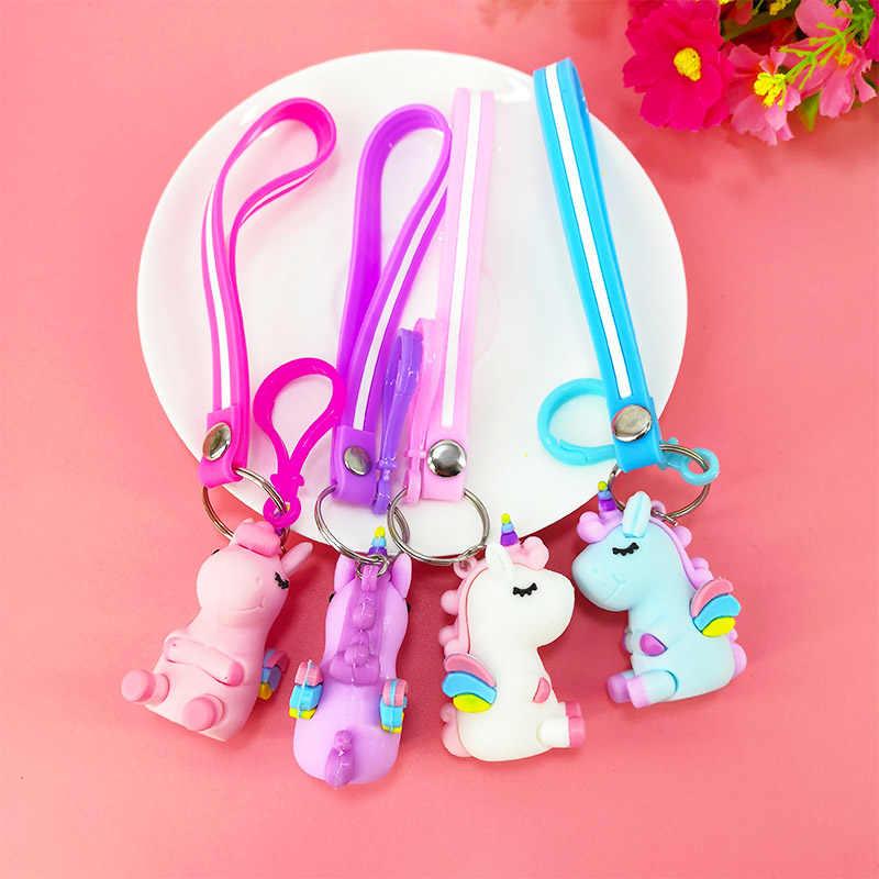 Creativo nuevo PVC dibujos animados unicornio llavero niños mochila suave goma animal coche llavero Accesorios