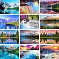Gatyztory 60 × 75 см декорации DIY картина по номерам горы реки расписанную Наборы холст для рисования акриловыми красками подарок домой деко