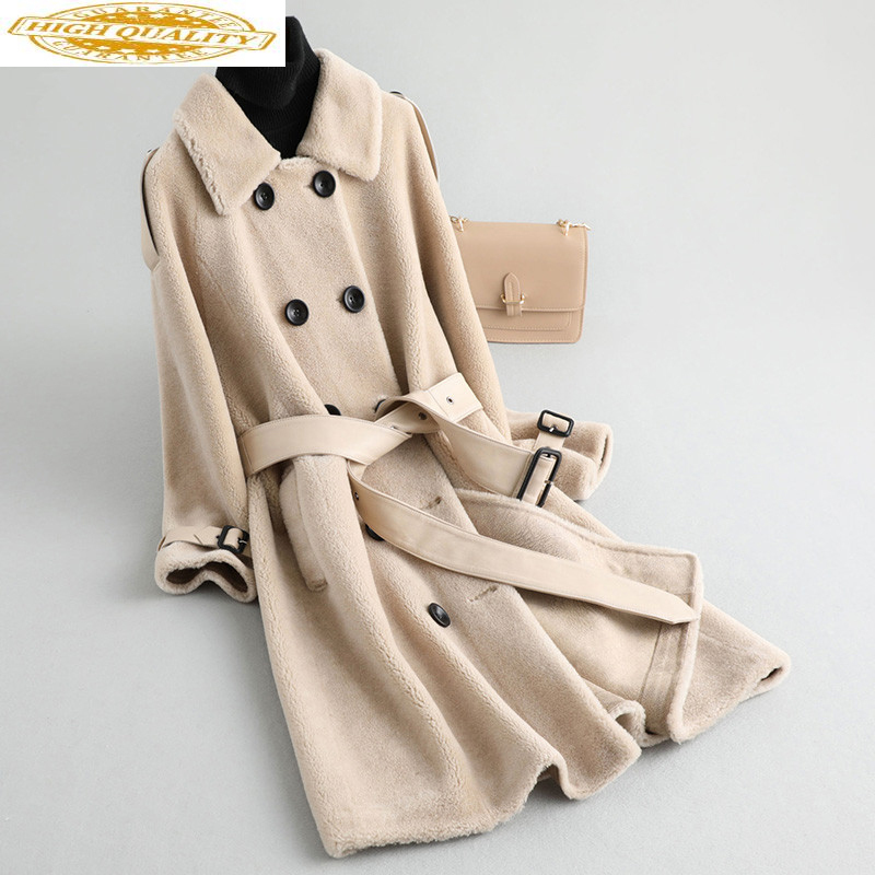2019 Sheep Shearling Real Fur Coat Winter Jacket Women 100% Wool Coat With Sheepskin Leather Belt Korean Jackets MY4250