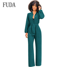 FUDA Plus Size S-XXXL Office Work Overalls Women Rompers Stand Collar Long Sleeve Cardigan Strap Jumpsuits with Belt Combinaison