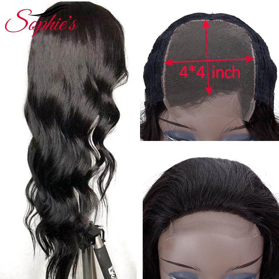 Sophie's Brazilian Body Wave 4*4 Lace Closure Wigs Pre Plucked With Baby Hair Non-Remy Lace Closure Human Hair Wigs