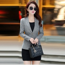 2020 Blazer Women Spring-Autumn Jackets Vintage Tweed Suits Office Ladies Slim B