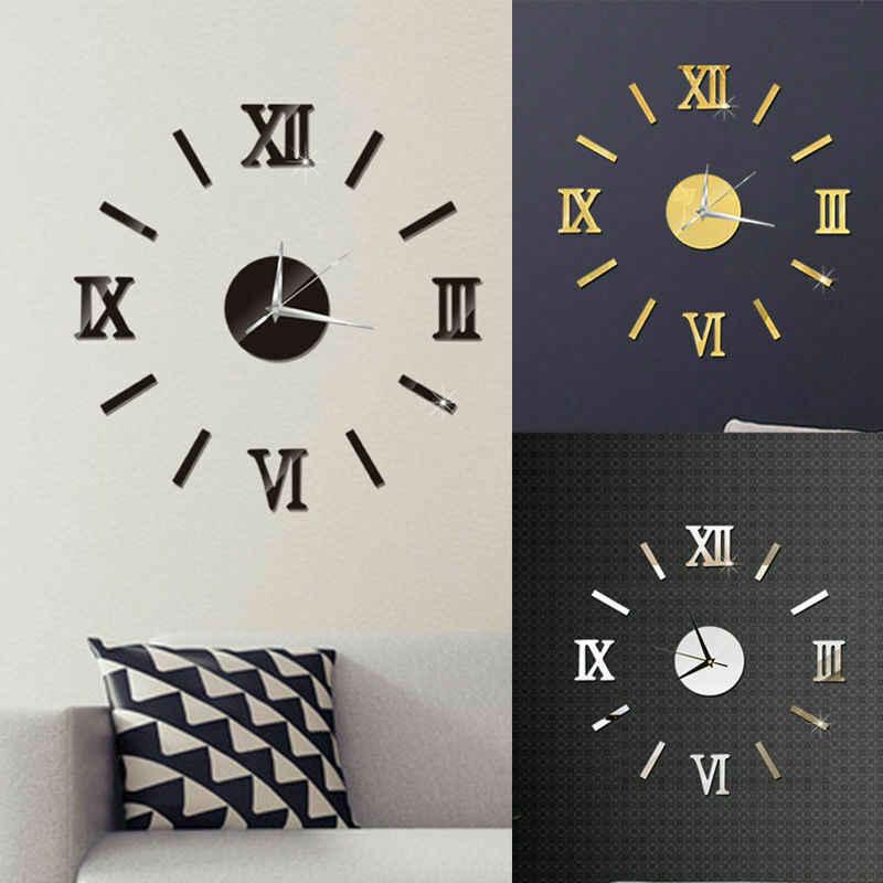 Moderne DIY Anzahl Wanduhr 3D Spiegel Oberfläche Aufkleber Wohnkultur Kunst Riesigen Wanduhr Uhr Mit Römischen Ziffern Große uhr