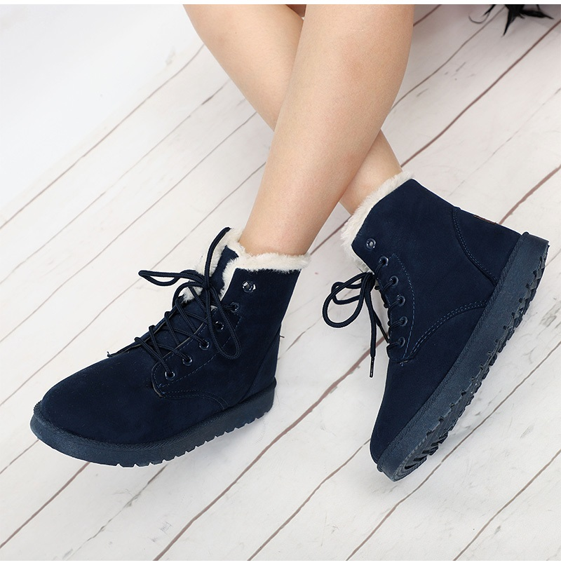 Women Flock Fur Flat Lace Up Winter Snow Suede Ankle Boots Female 49
