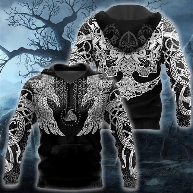 Viking Muninn Tattoo Raven 3D Printed Hooded Sweatshirt 1