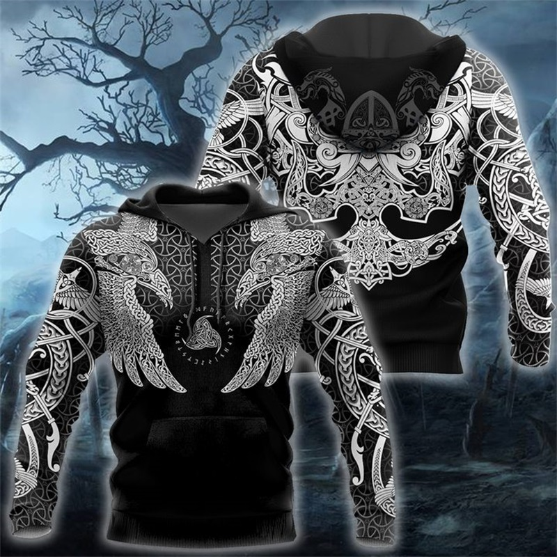 Viking Muninn Tattoo Raven 3D Printed Men Hoodies Harajuku Fashion Hooded Sweatshirt Autumn Unisex Hoodie Sudadera Hombre KS924