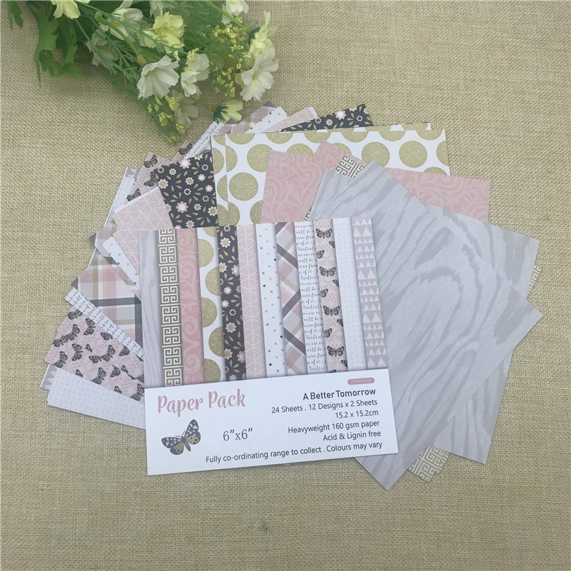 """24 sheet 6""""X6"""" Butterfly the flower patterned paper Scrapbooking paper pack handmade craft paper craft Background pad 3"""