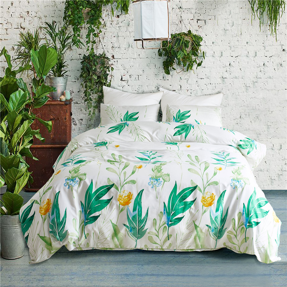 Popular Green Leaves Floral Soft King Twin Queen Bedding Set With 2/3pcs For Flowers Grass Tree Duvet Cover