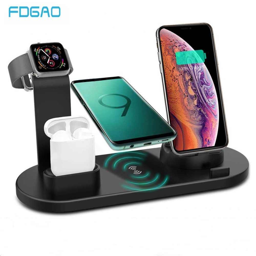 FDGAO 3 ב 1 טעינה Station10W צ 'י מהיר אלחוטי מטען עבור אפל iWatch עבור iPhone 11 פרו XS Max XR X 8 בתוספת Airpods 2 פרו