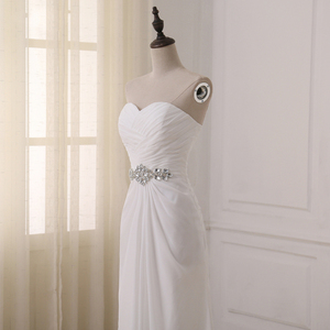 Image 5 - Jiayigong robe de mariée, robe de mariée, style Boho, sans manches, plissée avec Train de balayage, robe de mariage, été, plage, grande taille